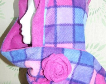 Adult Pixi hood in pink and purple check reversible