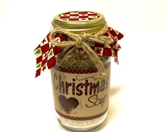 "Christmas Soup in a Jar - Quart Size Mason Jar ""Friendship"" Soup Mix - Neighbor Gift"