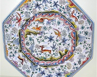 Large Hand Painted/ Ceramic Platter/ Wall Hanging from Portugal