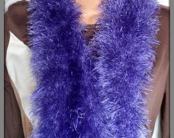 Winter scarf, Purple shaggy scarf, Soft feel scarf, Hand knitted scarf, Fashion scarf