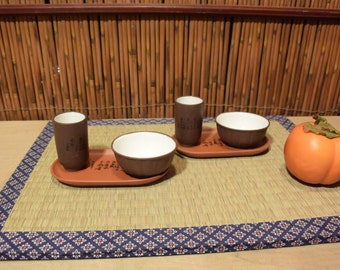 Chinese Clay Gong Fu Set of 2 Tea Cups and Saucers