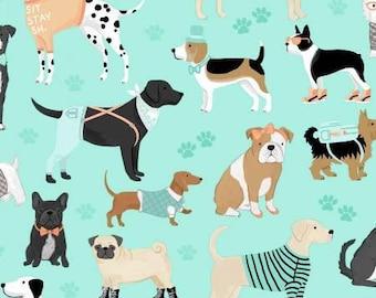 Dog Lover Aqua Dogs cotton fabric by Clothworks