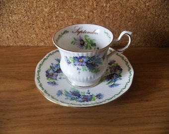 Vintage September Coffee Cup and Saucer Set, English Bone China Coffee Cup and Saucer Serving.
