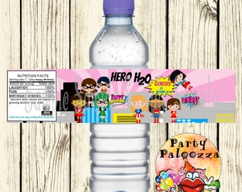 Printable Personalized  Super Girl Super Hero  water bottle labels