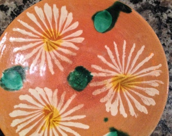 Small Clay Dish with Glazed Daisies