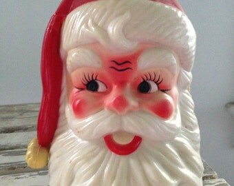 Rotating Musical Plastic Santa Clause Head Jingle Bells