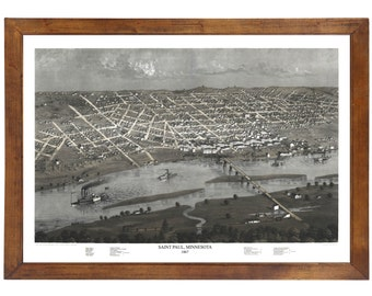 Saint Paul, MN 1867 Bird's Eye View; 24x36 Print from a Vintage Lithograph