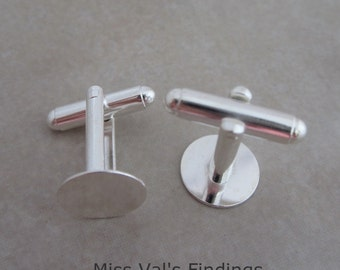 12 silver plated cuff link findings with 12mm pad