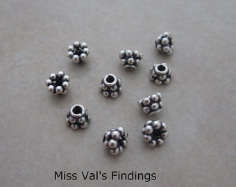 20 oxidized sterling silver beaded Bali bead caps 5mm