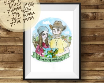 COUPLE ~ Original Custom Digital Watercolor Portrait in a Week