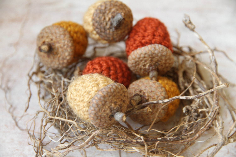 Acorns set of 6 acorn ornament crocheted home decor for Acorn decoration