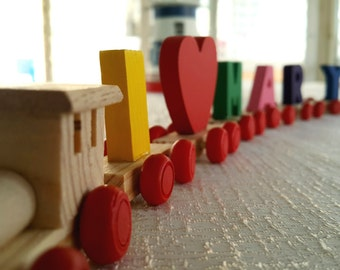 Wooden train, Custom train. Wood letters. Alphabet. Custom name.