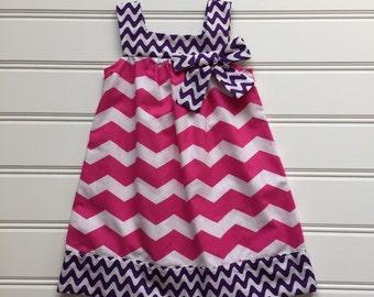 Pink Chevron Dress, Toddler Girl Dress, Hot Pink Dress, Girl Summer Dress, Girl Sundress, Little girl dress, 3T Ready to Ship
