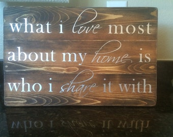 What I love most about my home is who I share it with sign