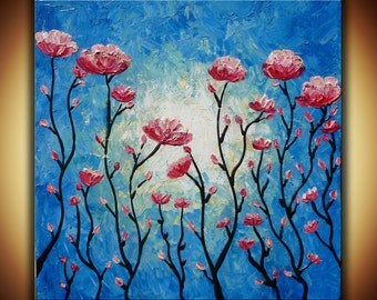 """Palette knife original painting, textured pink roses acrylic painting on canvas """"Evening Blush"""" modern abstract flowers impasto painting"""