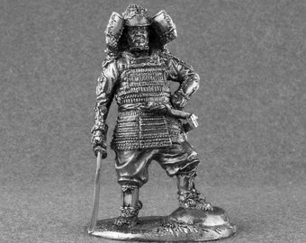 Collectibles Action Figurines Samurai 1100-1200 Years 1/32 Scale Unpainted Toy Soldier 54mm Tin Metal Miniature Sculpture