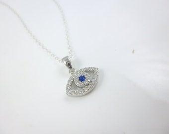 Evil Eye Necklace, Cz Evil Eye Pendant, Sterling Silver Evil Eye Necklace, Blue Stone Evil Eye