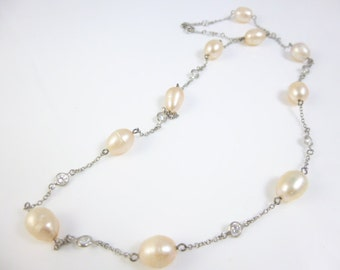 Pearl Station Necklace,  Sterling Silver Pearl Station Necklace, Peach Pearls
