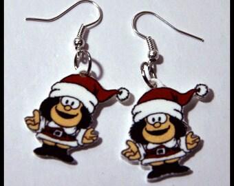 Mafalda Earrings Christmas Cartoon