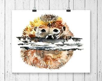 HEDGEHOG PRINT, Hedgehog Art, Hedgehog Watercolour, Hedgehog Painting, Woodland Nursery, Nursery Print, Woodland Animal, Forest Animal