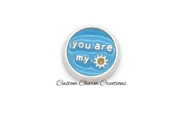 Floating Locket Charm • You are My Sunshine • Blue - LOV31