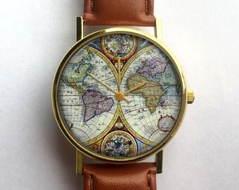 Antique Map Watch, Vintage World Map, Ladies Watch, Unisex Watch, Cartography, Old Map, Vintage Inspired, Men's Watch, Analog, Gift Idea