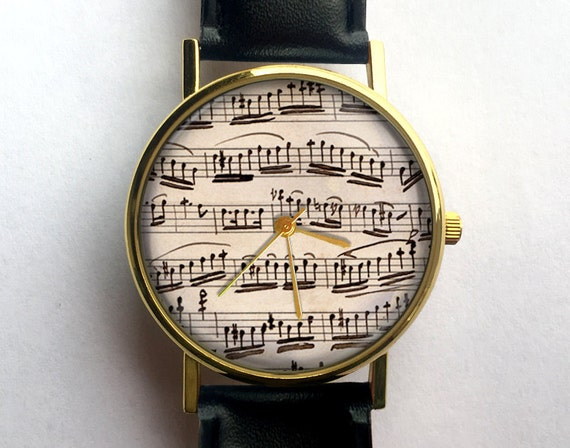 Antique Sheet Music Watch Ladies Watch Music Musical Notes