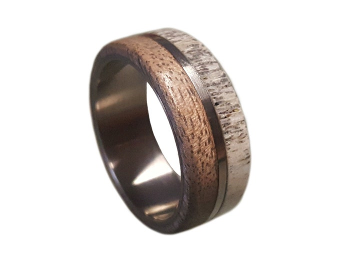 Titanium Ring, Deer Antler Ring, Antler Ring, Mens Titanium Wedding Band, Oak Wood And Antler Inlays, Wood Ring