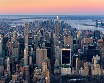 Midtown Skyline, Manhattan, New York City, Aerial View, Billionaire's Row, Central Park, NYC, Sunrise  - Travel Photography, Print, Wall Art