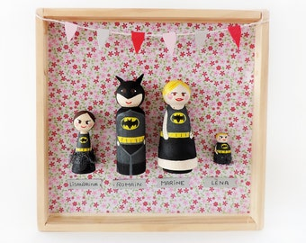 Family figurines decorative frame - A to customize