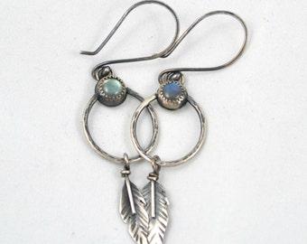 Labradorite Dreamcatcher Dangle Earrings, Dreamcatcher Collection, Symbolic Bohemian Jewelry, Boho Style