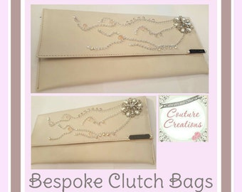 Clutch bag, bespoke in Cream with diamantie and Ivory Pearls