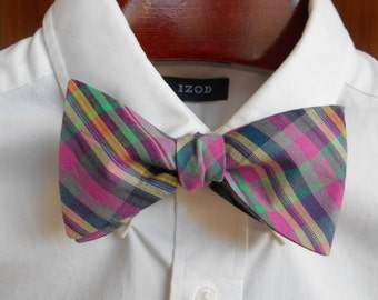 Bow Tie - Pink, Navy and Green Madras Plaid - Men's self tie