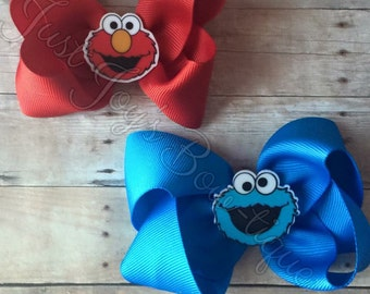 Elmo or Cookie Moster Hair Bow