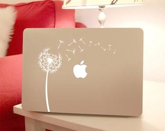 Dandelion Decal Flower Macbook Laptop, Wind Blowing Flower Vinyl Sticker to Personalize Computers