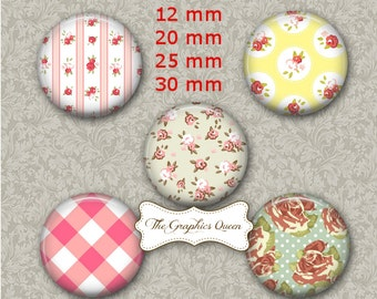 English Countryside - 12 mm, 20 mm, 25 mm, 30 mm, 1 Inch Digital Collage Sheet. Round Images for Bottle Caps, Aceo, Flower Images