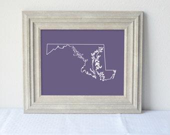 Printable Maryland State Art Print 8x10 Digital Wall Art Gift