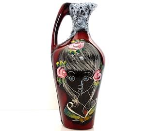 Small SAN MARINO Pitcher Vase / Smalto Roccia Fat Lava Pottery / Mid Century Italian San Marino Pottery