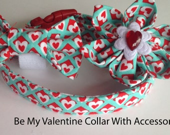 """Aqua Valentines Day Collar with Red and White Hearts for Dogs and Cats-""""Be My Valentine"""""""