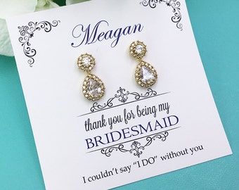 Gold Bridesmaid Earrings, Gold Bridesmaid Earrings Set, Bridesmaid Jewelry Gift, Personalized Bridesmaid Earrings, Bridal Earrings 489038041