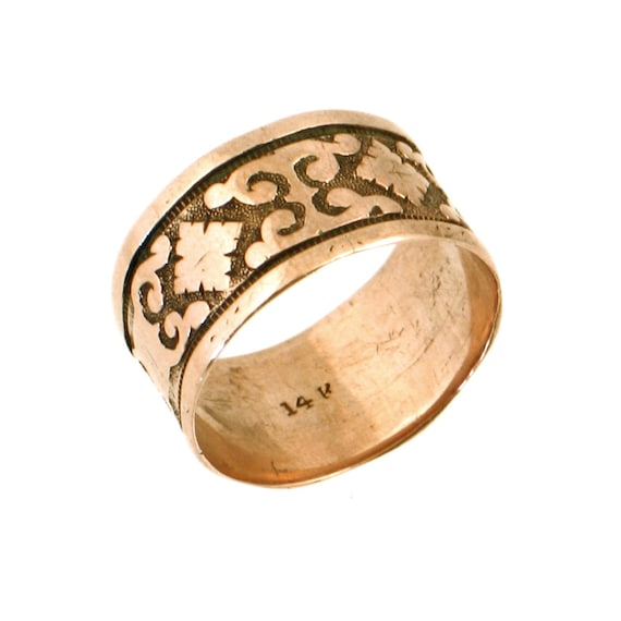 14k gold cigar band ring embossed antique ring in