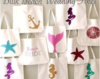 Bulk Beach / Nautical Wedding Totes -  Customize to match your event!