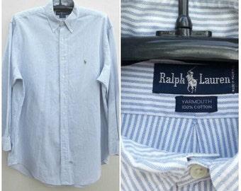 Vintage Ralph Lauren White - Blue Striped Shirt Size 16 1/2-33