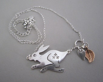 Hare necklace, silver hare necklace, running hare necklace, hare pendant