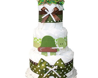 Turtle Diaper Cake, Turtle Baby shower Centerpiece, TurtleBaby Cake, Turtle Baby Shower
