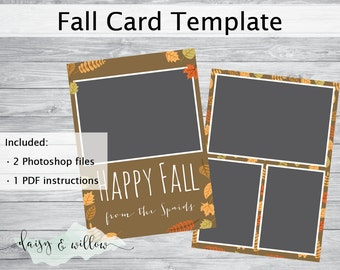 Happy Fall greeting card, Fall photoshop template, Autumn family photo card, 5x7 template