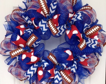 Custom Football Ribbon Wreath  You Choose Team and Colors for High School, College or NFL Teams