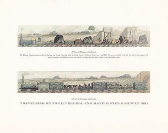 vintage steam train Travelling on the Liverpool and Manchester Railway 1831 print illustration home office décor 9.5 x 7 inches