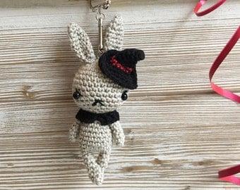 bunny Halloween keychain, crochet bunny key chain, amigurumi toy , bag charm,miniature bunny,handbag accessories, key ring,bunnies,amigurumi