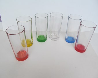 Vintage Tumblers  - multi colors  Milk glasses  set of 6  // made in Italy